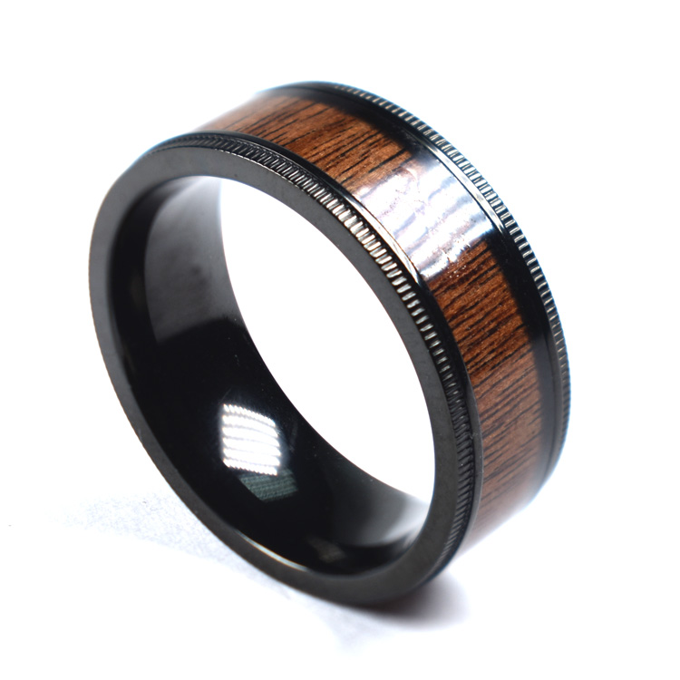Men's Good Quality Rosewood Ring ,Bolivian Rosewood Inlay Comfort Fit Design Small Step Edge Unique Gear Ring 8mm
