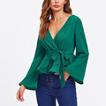 New Design Dongguan Oem Custom Wrap Casual Surplice Big Sleeve Blouse
