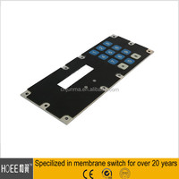 China newest custom made membrane switch keypad keyboard with aluminum plate assembly