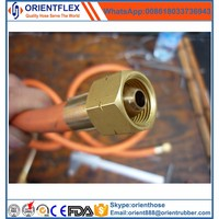 Flexible metal gas connection hose for stove