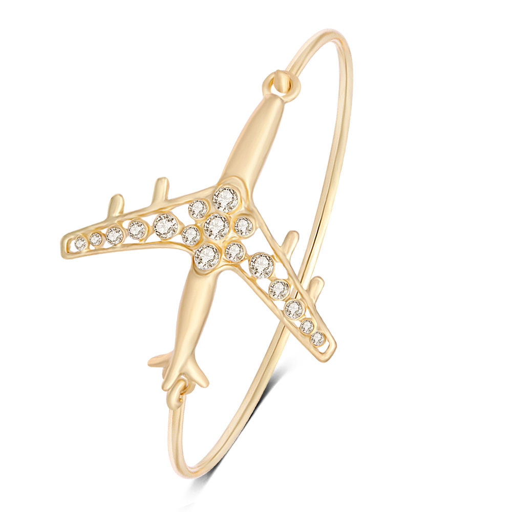 Yiwu newest design handmade helicopter pendant gold plated natural white crystal bracelet for women jewelry