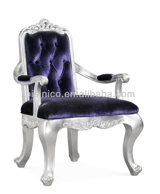 Luxury wooden dining room armchair in purple color