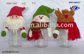 plush head PET bottle Christmas candy container