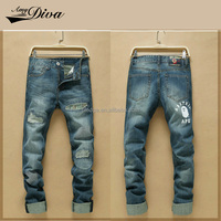New design jeans trousers fashion cheap gaggy ripped jeans pants for men