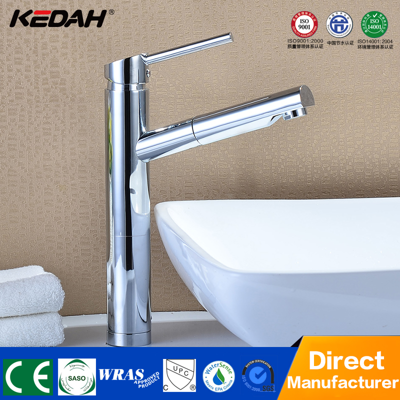 Modern chrome finishing single lever brass bathroom basin pull out kludi faucet