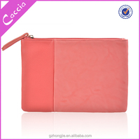 Trendy zippered leather cosmetic bag pouch