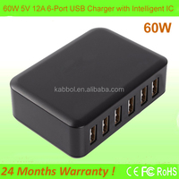 60Watt Phone Accessory 12A 6 port USB Travel Power Adapter Smart USB Charger for Android Tablets and Phones