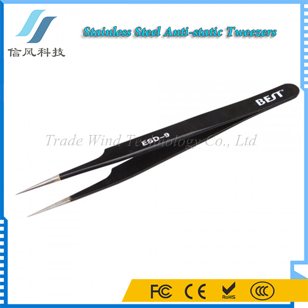 BST-EDS-9 High-grade Anti-static Stainless Steel Long Tweezers for Eyelash Extension