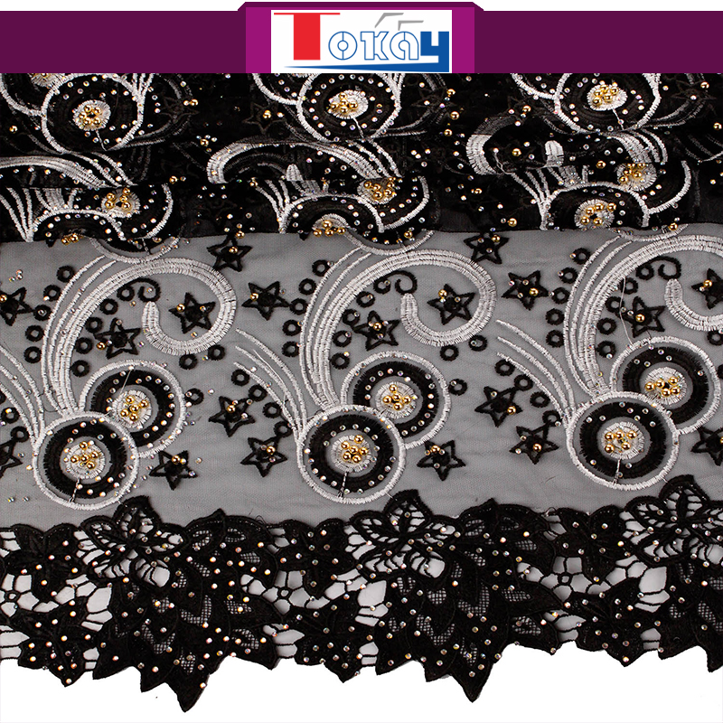 Black color top quality embroidered crystal soft tulle fabric for wedding