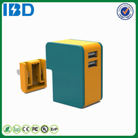 Mobile Phone, Tablet,Mp3,Mp4 Use, IBD portable QC 2.0 travel wall plugs charger Type Double flat US charger 9V 2A