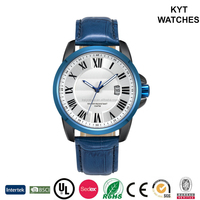 New design classic steel men watch with date genuine leather strap