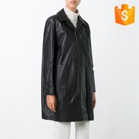New fashion style women winter long black italian casual leather trench coat