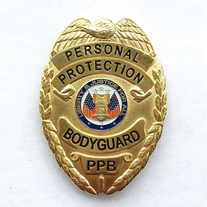 Customized Gold Plated Metal Badge Scutellate Metal Police/Bodyguard Badge