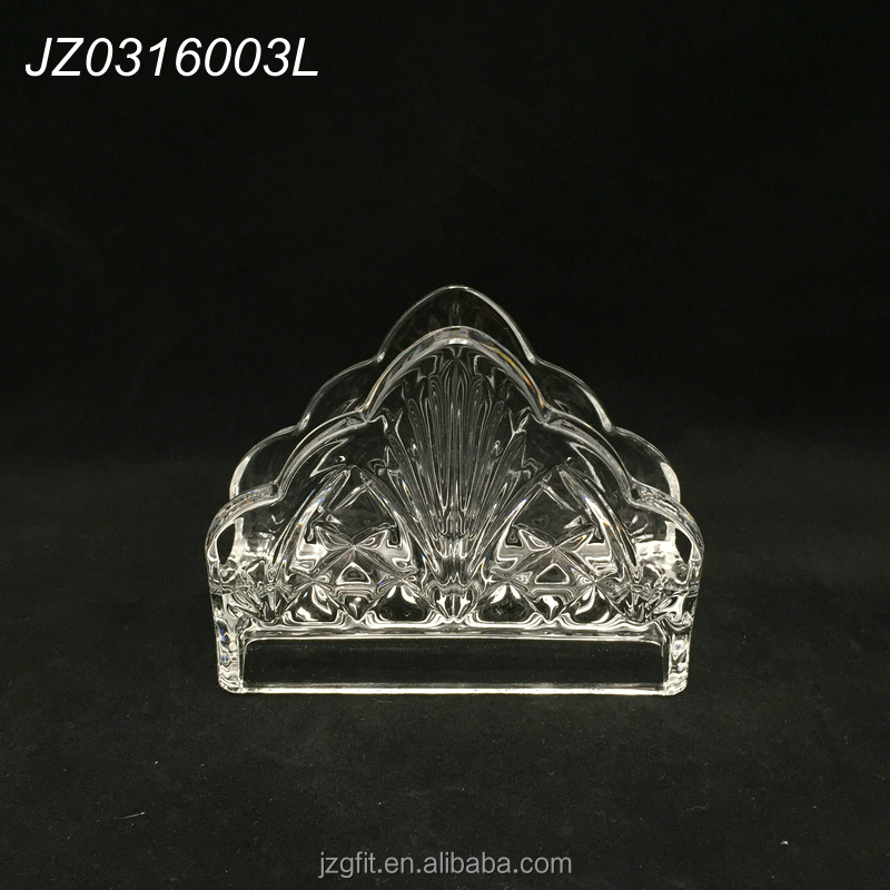 Elegant factory price restaurant table decoration crystal glass tissue holder,glass napkin holder
