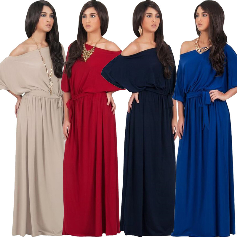 2017 newest Long Sleeved Smoked Design Plus Size Maxi Dress