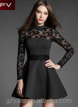 Newest lady elegant slim party casual dress with lace