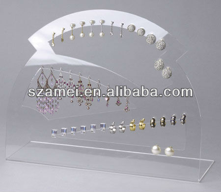 transparent hot selling laser cutting acrylic jewelry earrings display holder stand