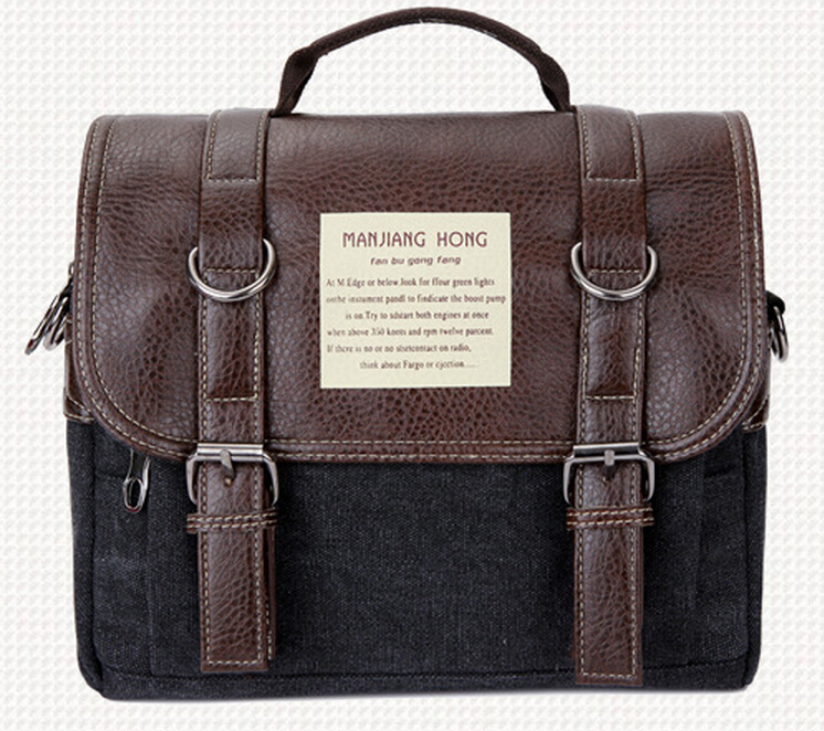Mens vintage leather shoulder messenger conference bag