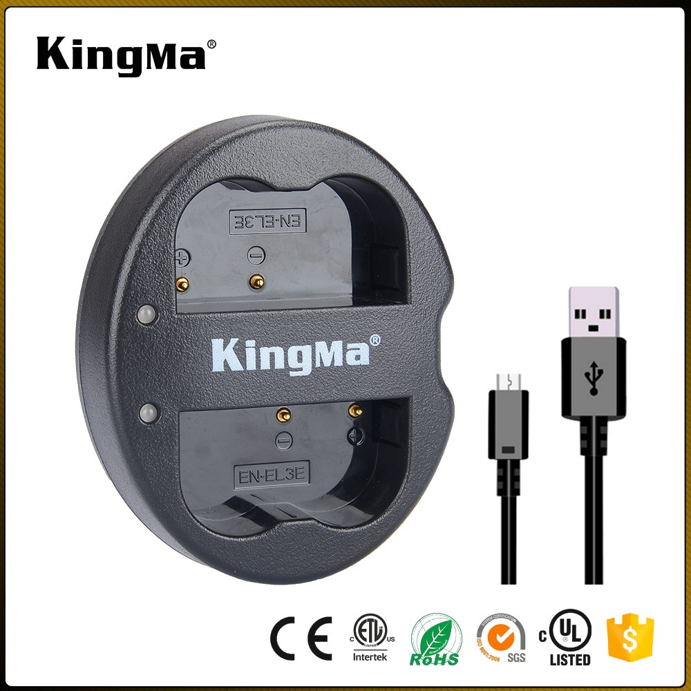 KingMa 2017 New Portable EN-EL3E ENEL3E Dual Micro USB Digital Camera Battery Charger for Nikon D100 D50 D70 D80 D200 D300 D700