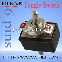 2-way waterproof 6 pin on-on dpdt toggle switch 250V