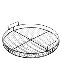 County Rustic Style Chicken Wire Round Metal Mesh Decorative Serving Tray with Handles