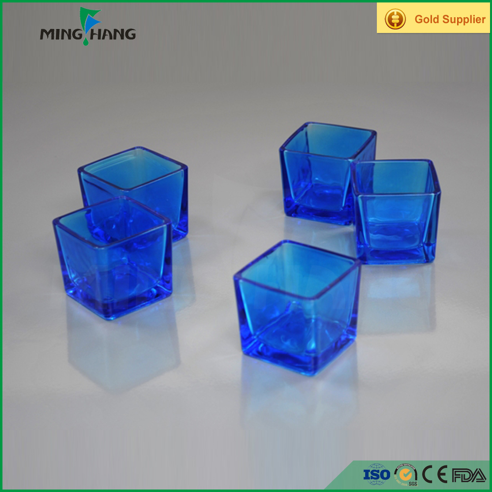 Blue square glass candle holder, Recycled glass jars for candle cheap sale