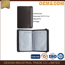 2017 hot model folding brown leather business pu leather card holder book