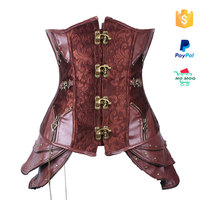 OEM sexy brown overbust steampunk corset for women