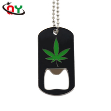 Promotional Cheap OEM ODM Black Leaf Picture Engraved Dog Tags Bottle Opener Shiny Finished ID Pet Tags