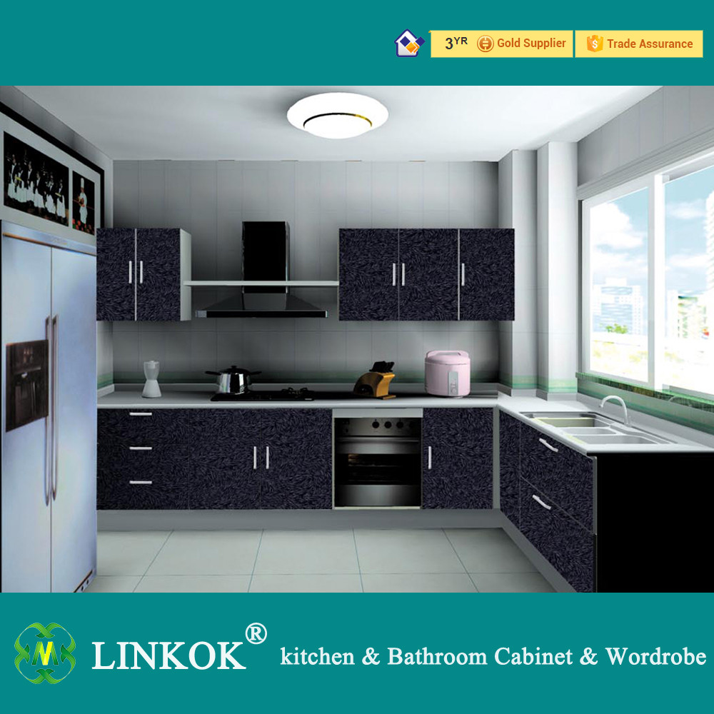 Linkok 2016 hot sale black kitchen cabinets modern l for Acrylic kitchen cabinets prices