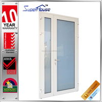 Australia AS2047 standard double glass interior frosted tempered glass french door