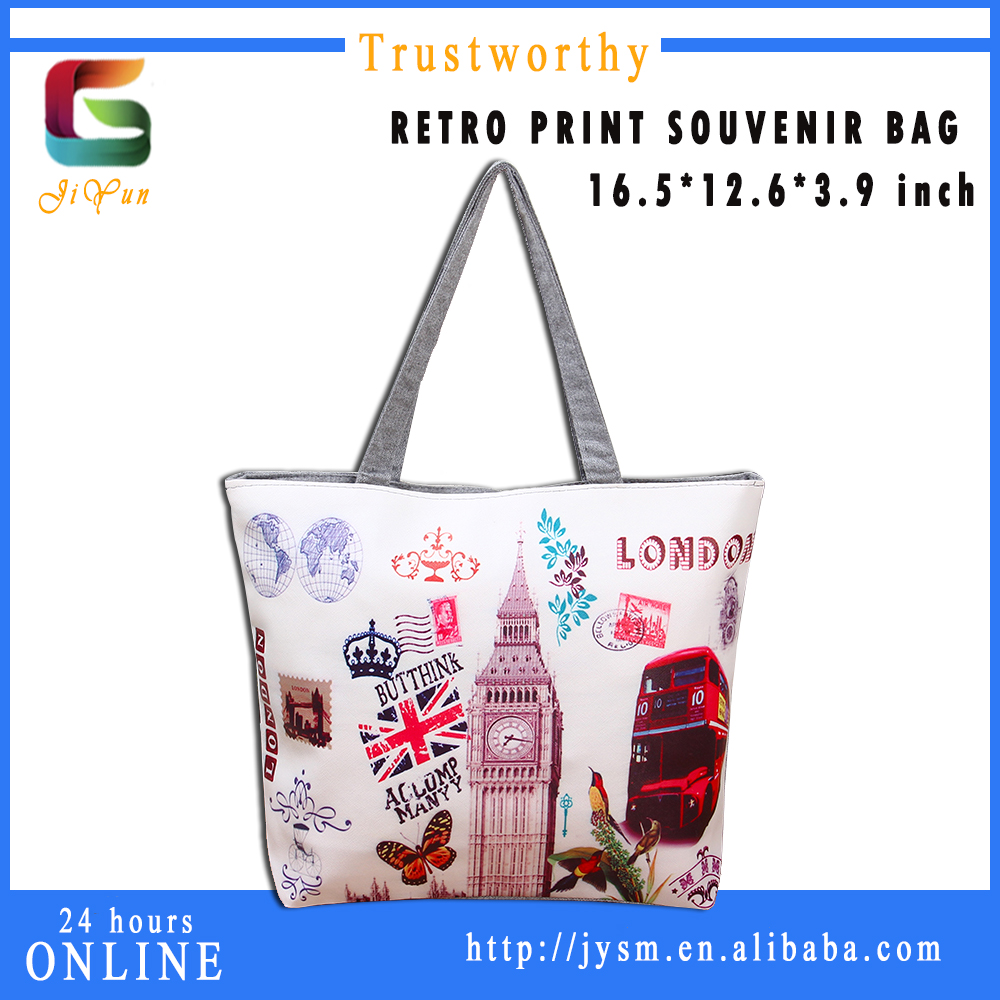2016 Manufacture Lastest Design Casual Fashion Printed England Big Ben Flag Red Bus Tote Handbag Ladies Leather Shoulder Bag