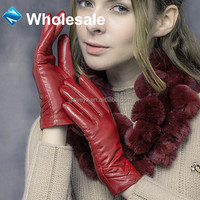 wholesale ladies fashion cherry red gloves leather, textile and leather products