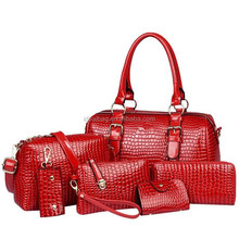Hot sale luxury 6 in 1 crocodile ladies handbags set,messenger clutch purse low price wholesale