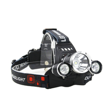 Camping waterproof Zoomable 3 led powerful 2000 lumens headlamp