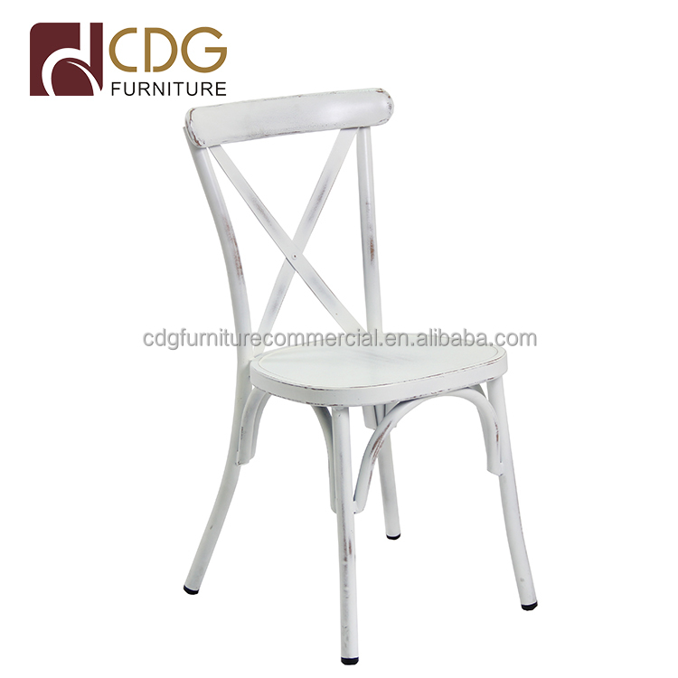 Antique finish stacking white outdoor wedding metal chair, dining room cross back chair