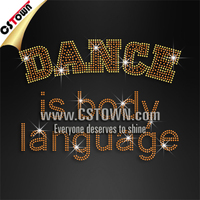 Hotfix dance rhinestone lettering design dance is body language