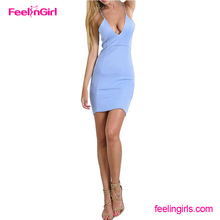The New Arrival V-Deep Straps Light Blue Jumpsuit women formal dress