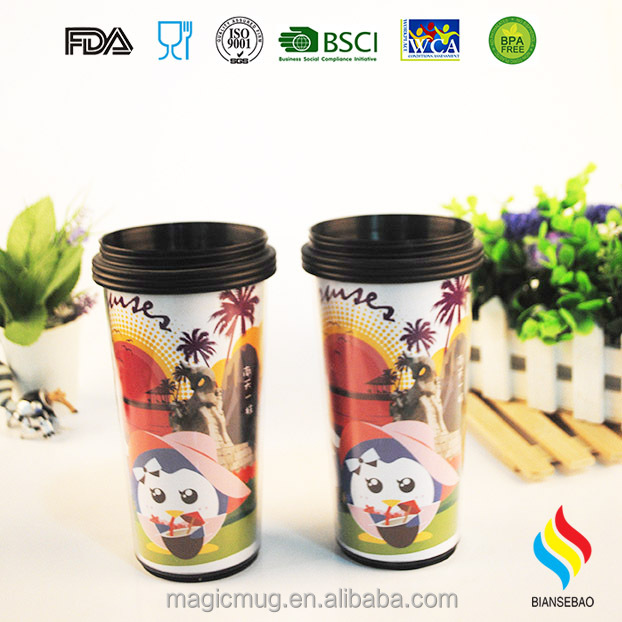 Fashionl Magic Heat Sensitive Color Change Paper Insert Travel Tumbler by customized required