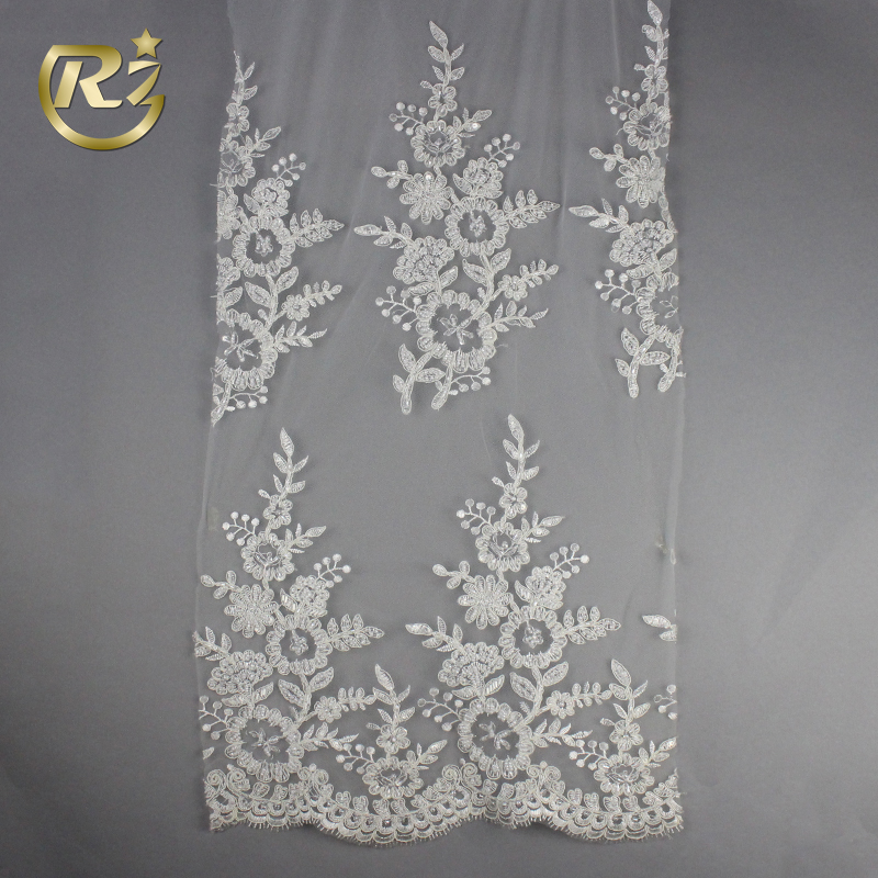 LF-40 Hot Sale Beaded Wedding Dress Dentelle Tejido Guipure Embroidery Lace Fabric