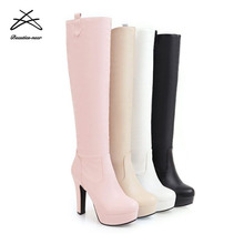 2018 Fashion Ladies Winter woman working Motorcycle Knee high Boots