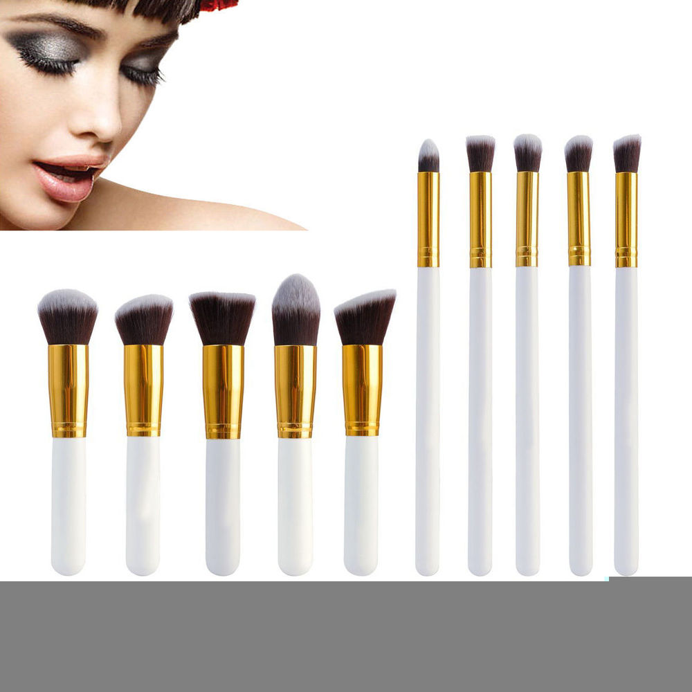 With Gold 10pcs Cosmetic Brushes Set 100% Brand New Discount Cheap ...