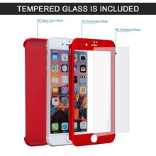 On Amazon hot seller 360 degree pc cell phone case with tempered glass for iphone 7/7plus