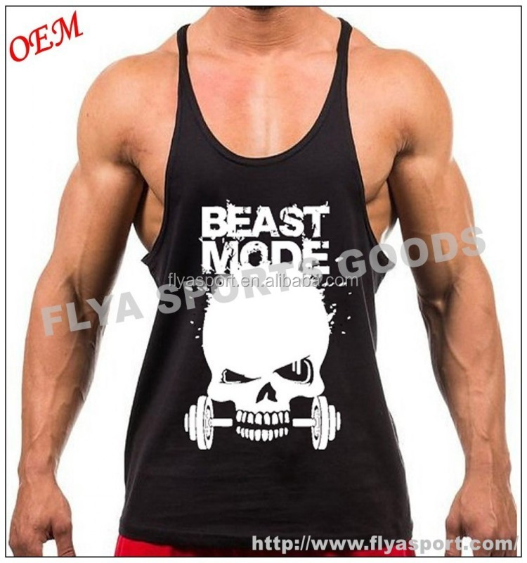 100% cotton screen printing custom mens bodybuilding gym y back fitness stringer vest