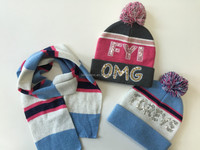 winter sequin embroidery knitted beanie hat scarf set