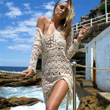 YOUME Sexy Beach Cover up Crochet White Swimwear Dress Ladies Bathing Suit Cover ups Beach Tunic Saida de Praia