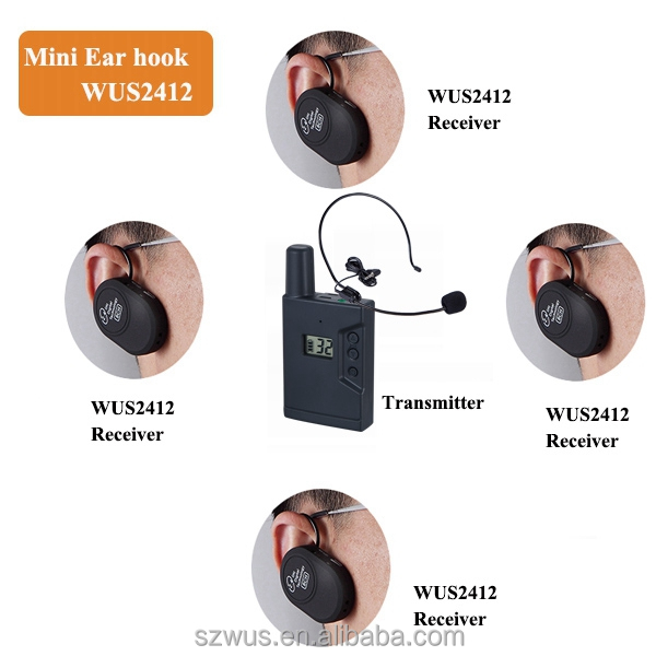 Professional Walkie Talkie Wireless Tour Guide System, rechargeable earhook mini ZLWUS2412