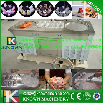 5% discount thailand rolled fried ice cream machine/double pan fry ice cream making machine