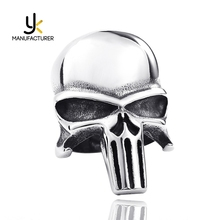 Popular Movies Jewelry Wholesale Mens Vintage Stainless Steel Punisher Rings