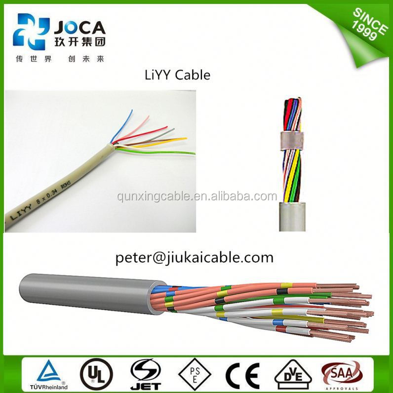 LIYCY LIYY LI2YCY BS DIN 300/500V PVC/PUR insulation Screened 36 40 44 48 50 cores oil fire resistance Flexible control cable